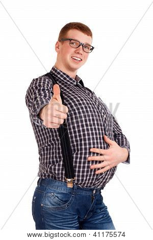 Portrait of young man with big belly