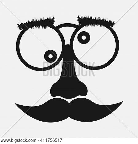 Mustache And Glasses Vector Icon. Vector Illustration