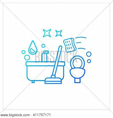 Bathroom Cleaning Gradient Icon. Home Cleanup. Bath And Toilet Cleanup. Washing, Wiping. Cleaning Se