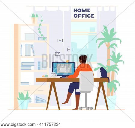 Afro American Woman Working At Computer From Home Back View. Home Office Interior. Freelancer At Wor