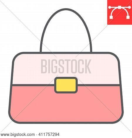 Handbag Color Line Icon, Accessory And Glamour, Women Bag Vector Icon, Vector Graphics, Editable Str