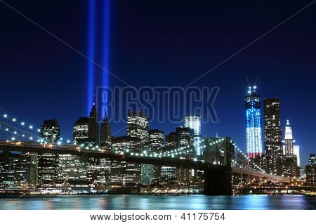 Brooklyn Bridge and the Towers of Lights at Night, New York City