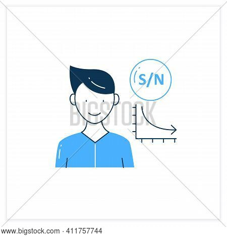 Low Signal Flat Icon. Low Signal To Noise Ratio. Minimum Level To Establish Connections.information