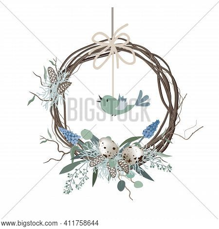 Happy Easter Card, Wreath In Scandinavian Style With Colored Eggs And Bird Feathers. Spring Decor. H