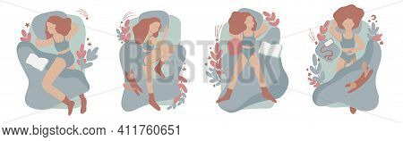 Collection Of Young Woman Sleeping In Bed In Various Poses. Set Of Female Cartoon Character Lying In