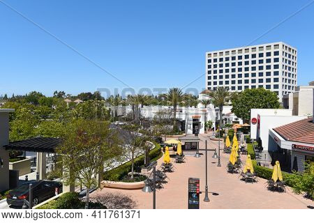 IRVINE, CALIFORNIA - 16 APRIL 2020: University Center, a shopping center adjacent to the University of California Irvine.