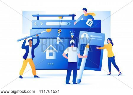 Web Development Vector Illustration. Group Of People Create A Website. Characters Build Web Page Int