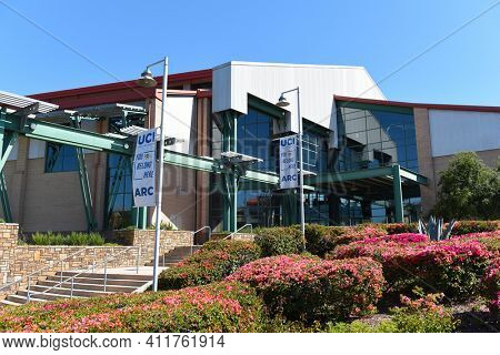 IRVINE, CALIFORNIA - 16 APRIL 2020: The Anteater Recreation Center, ARC, is an 89,000-square-foot indoor gym facility that is part of campus recreation at the University of California Irvine, UCI.