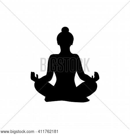 Lotus Position Silhouette. Wonam Meditation Vector Illustration