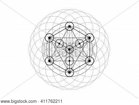 Alchemy Occult Sign, Metatrons Cube, Flower Of Life. Sacred Geometry, Graphic Element Magic Hexagram