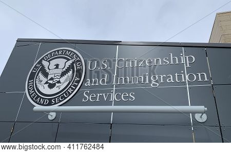 Helena, Montana - February 21, 2021: United States Citizenship And Immigration Services Office, Home