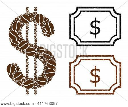 Mosaic Dollar Composed Of Coffee Seeds, And Grunge Dollar Rectangle Seal Stamps With Notches. Vector