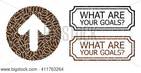 Collage Rounded Arrow United From Coffee Grain, And Grunge What Are Your Goals Query. Rectangle Seal