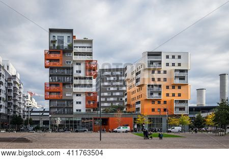 St-ouen, France, Oct 2020, View Of Some Colorful Buildings In Les Docks A Old Industrial Territory R