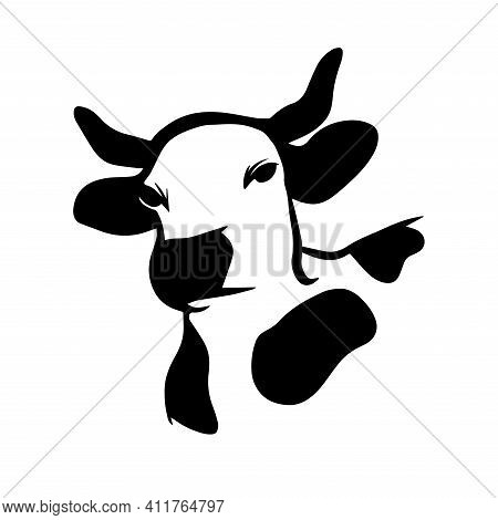 Cow Head Logo Icon In Hand Drawn Style On White Background. Silhouette Cow Head