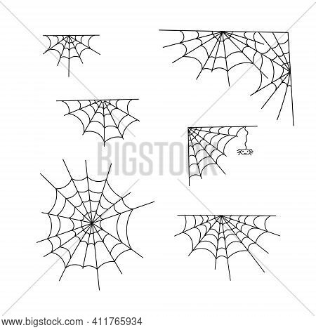 Spider Web Set Vector Outline Illustration Of Simple Fancy Halloween, Isolated Objects On The White