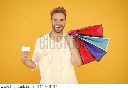 Happy Man Shopping Use Payment Method. Shopaholic Emptied His Credit Card. Buy Gifts And Presents On
