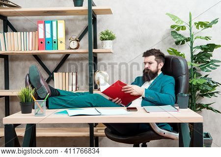 Financial Report. Owner Of Small Business. Man Bearded Businessman Sit Office Read Business Report.