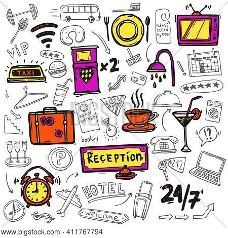 Hotel Premium Full Service Concept Symbols Of Restaurant Catering 24h Tv Facilities Abstract Doodle