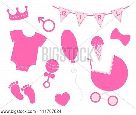Baby Girl Shower Set. Elements For Greeting Cards And Invitations. Pink Bunting With Text Girl, Crow
