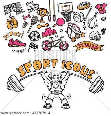 Sport Symbols Doodle Sketch Icons Of Hockey Players Helmet Gymnastics Rings And Boxer Gloves Abstrac