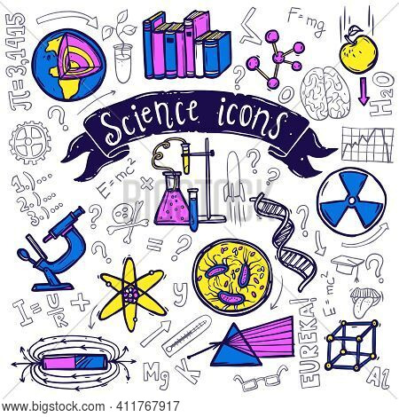Science Symbols Doodle Sketch Pictograms Of Relativity Equation Formula Eureka Moment And Chemical R