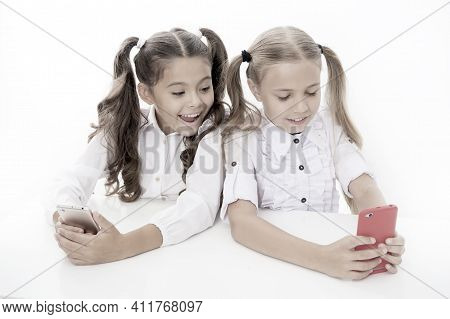 Blog For Students. Little Children Typing New Blog Post From Smartphone. Small Bloggers Keeping Clas
