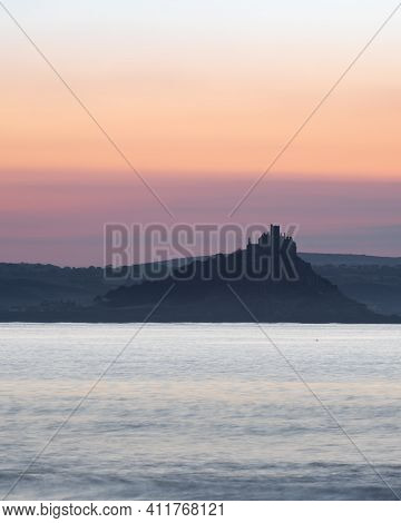 St Michaels Mount View From Penzance During Golden Hour Before Sunrise