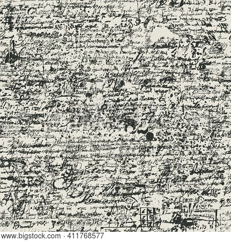 Abstract Seamless Pattern With Black Handwritten Scribbles And Blotches, Imitation Of Script On An O