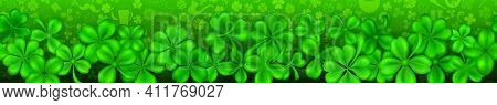 Banner On St. Patrick's Day Made Of Realistic Clover Leaves In Green Colors With Shadows. Seamless H