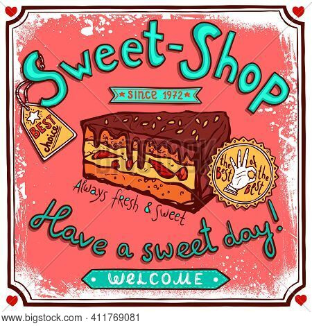 Sweetshop Confectionary Best Choice Piece Of Chocolate Cake Vintage Customers Welcome Poster Print S