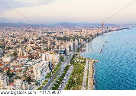 Molos Promenade Park, Aerial View. Limassol City Coastline, Cyprus.