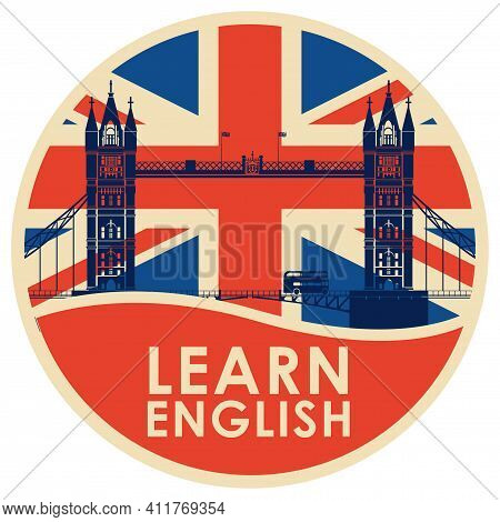 Vector Logo Or Icon On The Topic Of Learning English For A Language School Or Online Courses. Decora