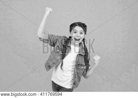 Act Like Winner Today. Happy Winner Celebrate Win Green Background. Little Child Make Winning Gestur