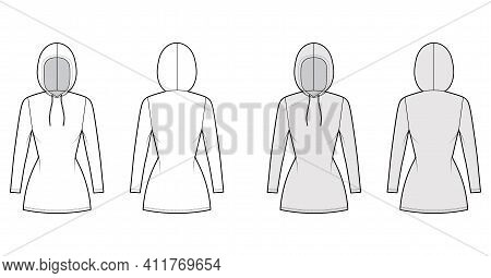 Hoody Dress Technical Fashion Illustration With Long Sleeves, Mini Length, Fitted Body, Pencil Fulln