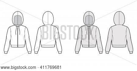 Zip-up Hoody Sweatshirt Technical Fashion Illustration With Long Sleeves, Relax Body, Knit Rib Cuff,