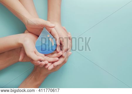 Hands Holding Water Drop, World Water Day,  Clean Water And Sanitation, Hand Sanitizer And Hygiene F