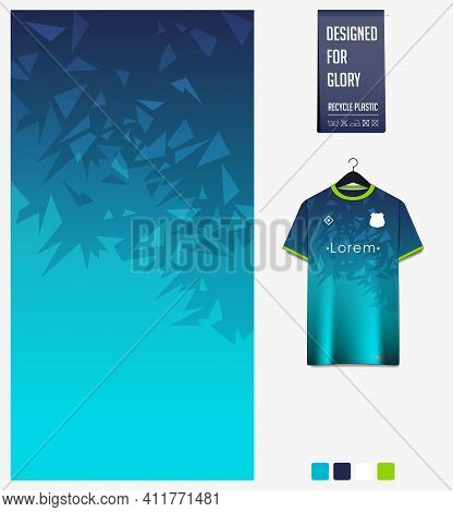Soccer Jersey Pattern Design. Mosaic Pattern On Blue Abstract Background For Soccer Kit, Football Ki