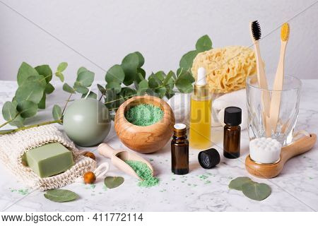 Eco-friendly Bathroom Accessories: Bamboo Toothbrush, Wooden Brush, Sea Sponge, Natural Soap In Orga