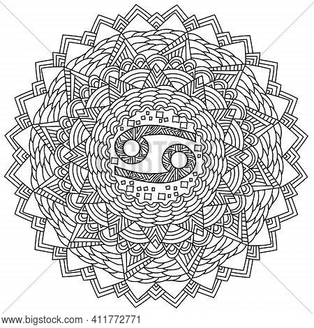 Contour Mandala Zodiac Sign Cancer Coloring Page With Meditative Patterns And Intricate Swirls Vecto
