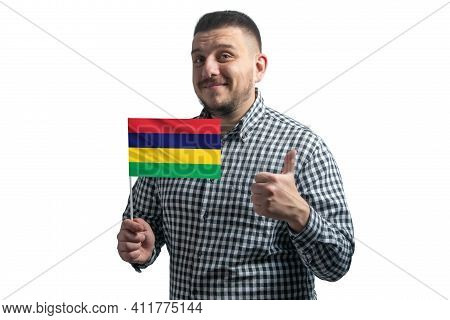 White Guy Holding A Flag Of Mauritius And Shows The Class By Hand Isolated On A White Background. Li