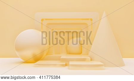 Minimal Abstract Exhibition Background With Geometric Shapes And Steps. 3D Rendering