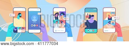 Human Hands Using Mobile App For Virtual Conference Meeting Friends Discussing During Video Call On