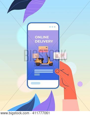 Human Hand Using Mobile App For Ordering Goods By Scooter Fast Delivery Service Online Shopping E-co