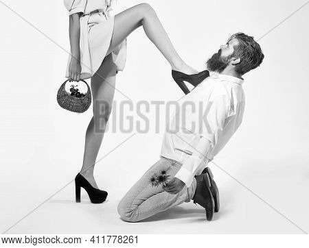 Man Under A Female Heel. Role Playing Games Of A Sexy Couple. Mistress Seducer Concept