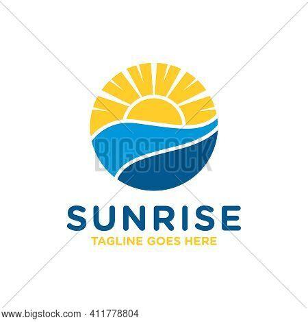 Sunrise At Sea View Logo Design Or Brand