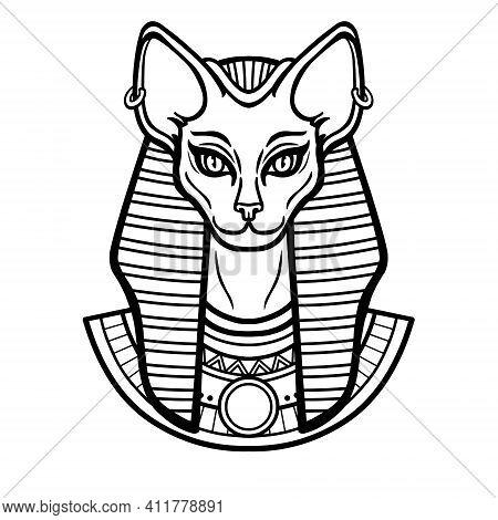 Animation Portrait Ancient Egyptian Goddess Bastet (bast).with Cat Head.  Vector Illustration Isolat