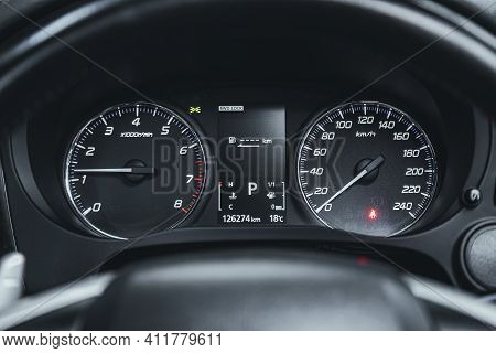 Novosibirsk, Russia - March 2 2021: Mitsubishi Outlander, Close Up Instrument Automobile Panel With