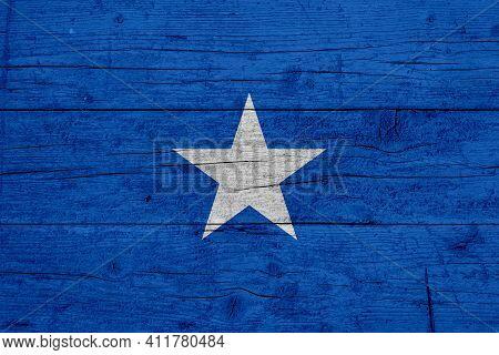 Flag Of Somalia. Wooden Texture Of The Flag Of Somalia.