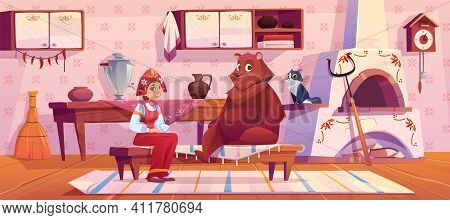 Woman In Traditional Old Russian Costume Sundress And Kokoshnik, Bear And Cat Sitting On Kitchen Wit